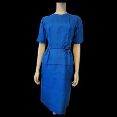 Royal Blue Silk Faille Wiggle Dress Vintage 1950s Womens Fashion Clothing - Red Tag Sale Item