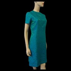 Vintage 1950s Brocade Dress Fit And Flare Blue Green