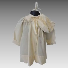 Antique Silk Baby Coat Bonnet Early Century Ivory Set Toddler Large Doll