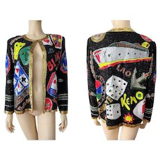 Viva Las Vegas Gambling Jacket Vintage 1980s Black Silk Beaded Novelty New With Tags