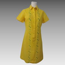 Yellow Linen Shirt Dress Vintage 1970s Hemstitched Embroidery Route One