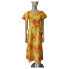 Hilo Hattie Hawaiian Print Dress Vintage 1970s Orange Yellow Cotton Summer Sundress