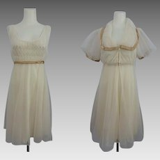 Movie Star Lingerie Peignoir Set Vintage 1970s Nightgown Negligee Robe