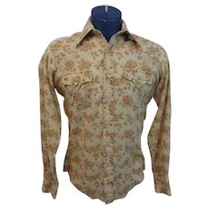 Rockabilly Western Mens Shirt Vintage 1970s Pearl Snap Floral Permanent Press