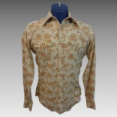 Rockabilly Western Mens Shirt Vintage 1970s Pearl Snap Floral Permanent Press