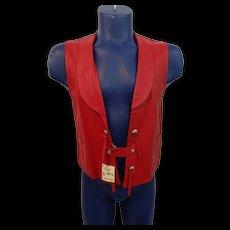 Rockabilly Western Red Leather Vest Vintage 1970s Jo-O-Kay NWT Concho Fringe Unisex - Red Tag Sale Item