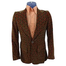 Mens Velvet Jacket Blazer Vintage 1970s Groovy Diamond Print Green Orange Retro