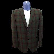 HOLD For Reb: Mens Plaid Jacket Blazer Vintage 1950s Green Brown Black Sport Coat