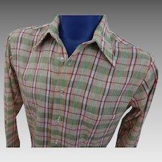 Mens Plaid LS Shirt Vintage 1970s Pointed Collar Permanent Press Medium