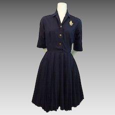 Vintage 1950s Navy Blue Cotton Swing Day Dress Plated Skirt Norman Wiatt California