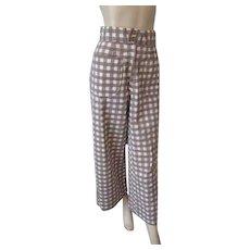 Seersucker Capri Cropped Pants Vintage 1950s Brown White Gingham Gaucho Culotte Cotton