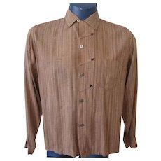 Mens Rockabilly Shirt Vintage 1950s Rugby Brown Arrows Long Sleeve Medium