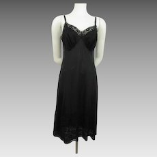 Black Full Slip Vanity Fair Vintage 1960s Lace Bodice Base Size 36