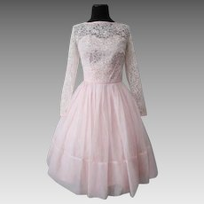 Pink Swing Dress Vintage 1950s Lace Bodice Chiffon Full Skirt Princess