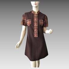 Mini Mod Plaid Wool Dress Vintage 1970s Brown Lucite Buttons Allyn St. George Designer