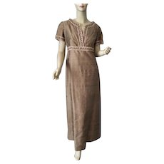 Evening Gown Dress Vintage 1960s Vogue Young Fashionables Gold Amber Rhinestones Brocade Trim Maxi