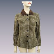 Fall Tweed Jacket Vintage 1970s Faux Fur Collar Marc Baxis Lucite Buttons