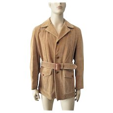 Mens Corduroy Jacket Coat Vintage 1970s Tan Brown Leather Belt Buttons