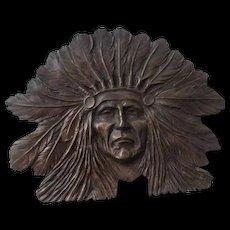 Brass Indian Chief Belt Buckle Vintage 1970s Native American Bergamot Sandy Val Designer XL