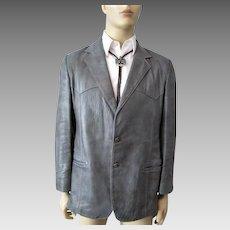 Mens Western Leather Jacket Vintage 1970s Grey Coat Sportcoat Angel Skin Grais