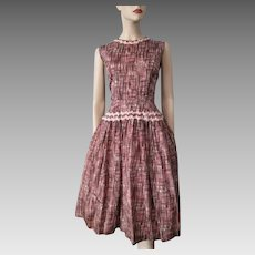 Vintage 1950s Dress Fit and Flare Pink Brown Sleeveless Rayon