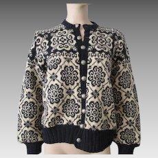 Norwegian Cardigan Sweater Vintage 1980s Navy Ivory Snowflake Selbu of Norway