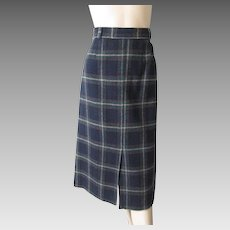 Vintage 1970s Wool Plaid Midi Skirt