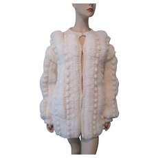 Shaggy Cardigan Sweater Vintage 1970s Crocheted Winter White Pom Poms Acrylic