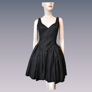 Gunne Sax Black Party Prom Dress Vintage 1980s Jessica McClintock Lace Sequins Bow Fit and Flare Mini