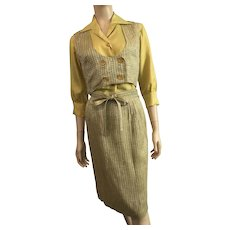 Saks Fifth Avenue Silk Suit Vintage 1950s Houndstooth Skirt Vest Yellow Raw Silk Blouse