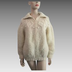 Hand Knit Womens Cardigan Sweater Vintage 1970s Nubby Heavy Beige Wool