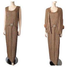 Vintage 1950s Gold Metallic Gown Flapper Style Dress Mink Fur Jacket Rhinestone Buckle Large XL