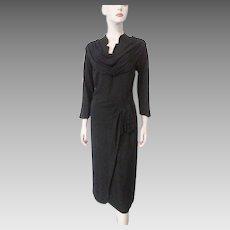 Vintage 1940s Black Crepe Dress Cowl Neck