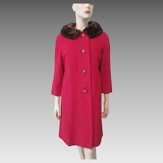 Red Wool Womens Coat Mink Fur Collar Vintage 1960s Winter Outerwear Large Size