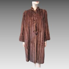 Exquisite Art Deco Marshall Field Company Mink Fur Coat Vintage 1940s Brown Long Mid Calf Length