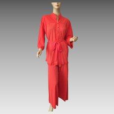 Coral Nylon Pajamas Lounge Wear Set Vintage 1970s Button Front Shirt Wide Leg Pants Larger Size