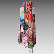 Patchwork Crazy Quilt Skirt Vintage 1970s Boho Bohemian Hippie Multi Colored Maxi