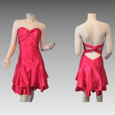 Jessica McClintock Gunne Sax Red Strapless Party Dress Vintage 1980s Christmas Holiday Special Occasion