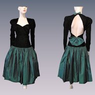 Party Prom Dress Vintage 1980s Black Velvet Green Taffeta Bows Open Back Evening Special Occasion