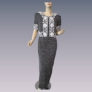 Silk Beaded Evening Gown Dress Jacket Vintage 1980s Black White Snowflake Special Occasion Maxi Stenay