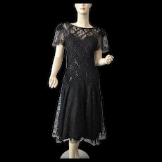 Black Lace Party Dress Vintage 1980s Sequins Sweetheart Necklace Tea Length