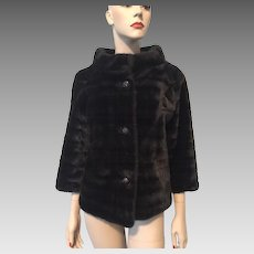 Faux Fur Stole Coat Jacket Vintage 1950s Rhinestone Domed Buttons Short