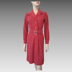 Red Womens Shirt Dress Vintage 1970s Pointed Collar Belt Country Miss