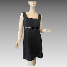 Mod Vintage 1960s Little Black Cocktail Dress LBD Fringe Rhinestones Shift