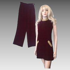 Deep Crimson Red Velvet Mini Go Go Dress Cigarette Pants Vintage 1970s Womens Disco Set Suit B. Altman Label