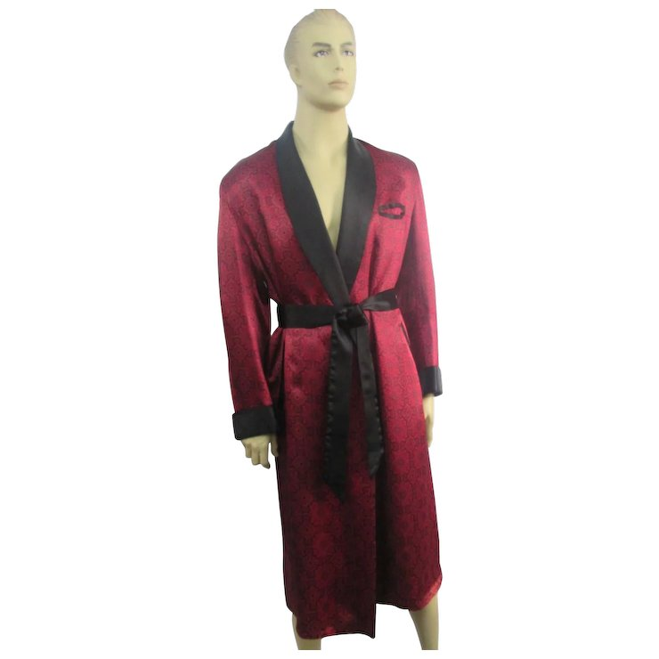 Mens Smoking Jacket Satin Dressing Gown Vintage 1940s Black Red SOLD ...