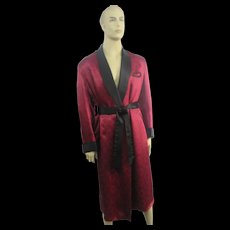 Mens Smoking Jacket Satin Dressing Gown Vintage 1940s Black Red Lounging Robe Old Hollywood