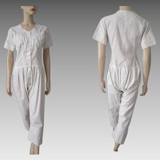 Antique 1870s Womens Combination Underwear Undergarments Chemise Drawers