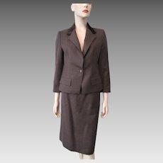Brown Wool Velvet Womens Suit Vintage 1970s Jacket Blazer Pencil Skirt Career Professional Set