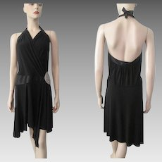 Black Beaded Flapper Style Halter Dress Vintage 1990s Evening Special Occasion Party Prom